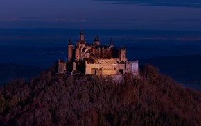 Picture autumn, forest, the sky, clouds, light, blue, castle, view, height, mountain, dal, the evening, Germany, …
