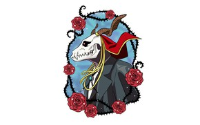Picture skull, roses, being, male, Mahou Tsukai no Yome, Bride of the sorcerer, Elias