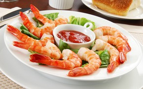 Picture plate, sauce, shrimp, seafood