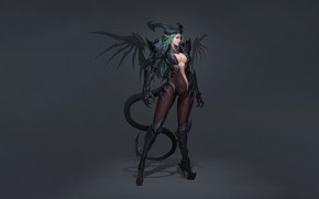 Picture Girl, Fantasy, Art, Style, Background, Illustration, Minimalism, Lee, Character, Eusang, Demon Succubus
