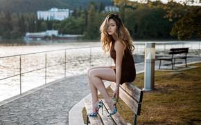 Picture look, trees, landscape, pose, river, model, portrait, makeup, figure, dress, hairstyle, shoes, brown hair, legs, …