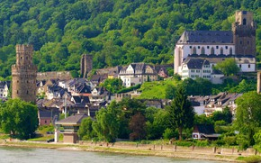 Picture the city, river, castle, Germany, Oberwesel