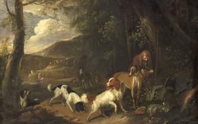 Picture oil, picture, canvas, Adriaen Cornelisz Beeldemaker, 1699, A hunter with a Dog, Adrian Cornelis Baldinger