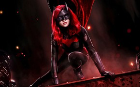 Picture roof, girl, night, hero, Batwoman, Ruby Rose