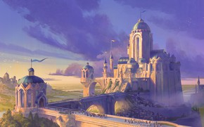 Picture fantasy, river, sky, landscape, bridge, Castle, digital art, artwork, fantasy art, towers, crowds, fantasy landscape