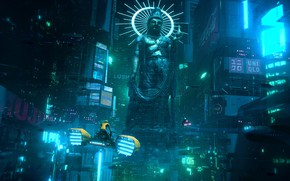 Picture Night, The city, Future, Statue, Style, Fantasy, Neon, Bike, Concept Art, Science Fiction, Environments, Hoverbike, …