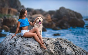 Picture sea, landscape, sexy, pose, stones, model, shorts, dog, makeup, Mike, figure, hairstyle, brown hair, legs, …