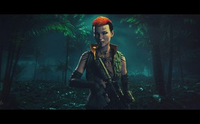 Picture forest, girl, squirt, orange, palm trees, weapons, background, the film, the game, the evening, tattoo, …