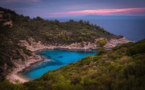 Picture sea, landscape, sunset, mountains, nature, shore, vegetation, Bay, Greece, Kalin Panchev