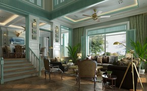 Picture design, style, interior, fireplace, living room, country, dining room, American Style Living Room