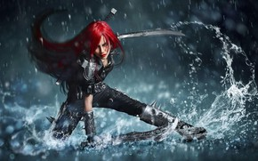 Picture weapons, swords, stand, weapons, fantasy art, katarina, Catarina, water splashes, stand, blades, fantasy art, redhead …
