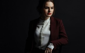 Picture blouse, brown hair, jacket, Christina, Mishin Dmitry