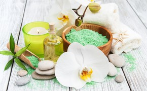 Picture stones, oil, towel, candle, Orchid, Spa, salt, aroma, Olena Rudo