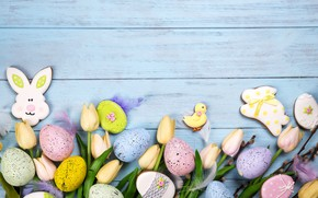 Picture flowers, eggs, Easter, happy, flowers, tulips, eggs, easter, cookies, decoration