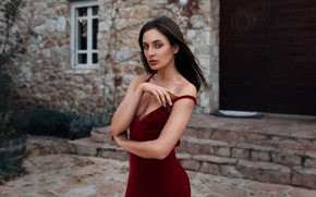 Picture look, sexy, pose, model, portrait, hands, makeup, figure, dress, brunette, hairstyle, is, in red, bokeh, …