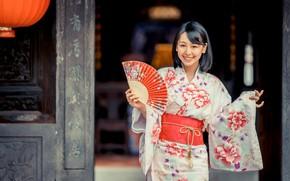 Picture girl, smile, fan, kimono, Asian