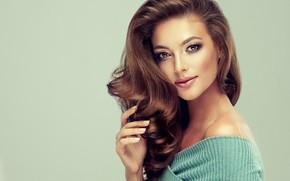 Picture look, girl, pose, model, hair, makeup, brown hair, shoulder, curls, edwardderule