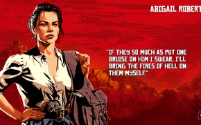 Picture girl, weapons, art, Red Dead Redemption 2, Abigail Roberts