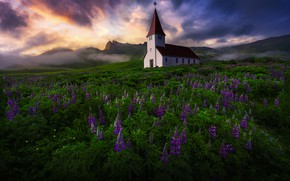 Picture nature, Iceland, Church of Vik