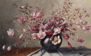 Picture picture, still life, painting, spring flowers, Camilla Gobl-Wahl, Magnolia blossoms