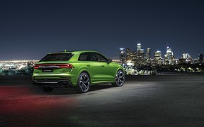 Picture night, the city, Audi, rear view, crossover, 2020, RS Q8