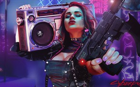 Picture purple, chest, girl, blue, weapons, background, graphics, Photo, Girls, texture, player, Fiction, Cyber, fantastic, ski ...