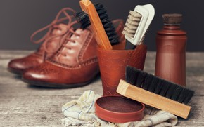 Picture shoes, quality, elegance, luster, brushes, brought