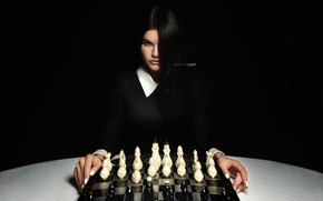 Picture look, girl, face, hair, chess, Alexander Drobkov-Light, Julia Khudoleeva