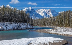 Picture winter, forest, snow, mountains, river, Canada, Albert, Banff National Park, Alberta, Canada, Rocky mountains, Banff …