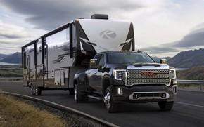 Picture road, pickup, trailer, tractor, GMC, Sierra, 2019, Sierra 3500HD Denali