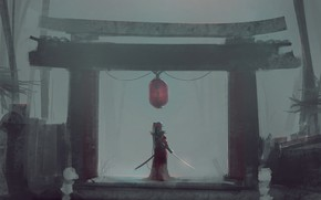 Picture girl, background, sword, art, Aoi Ogata