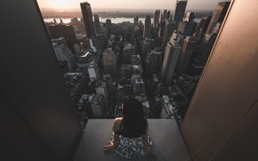 Picture girl, sunset, skyscraper, architecture, Urban landscape, Jason Liu