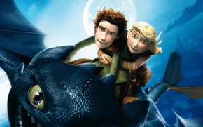 Picture flight, cartoon, Hiccup, Toothless, How to train your dragon, How to Train Your Dragon