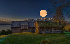 Picture landscape, mountains, nature, dawn, the moon, home, morning, Norway, Jørn Allan Pedersen