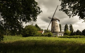Picture field, summer, mill