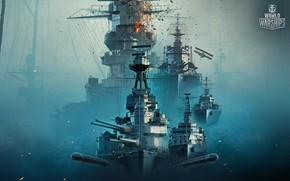 Picture Fog, The game, The plane, Ship, Ships, Art, Gun, Tank, Wargaming, World of Warships, Torpedo, …