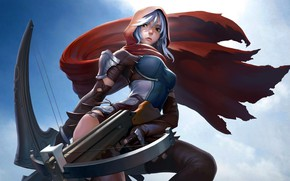 Wallpaper girl, fantasy, armor, weapon, artwork, warrior, fantasy art, Archer, hood, crossbow, cape, leather armor