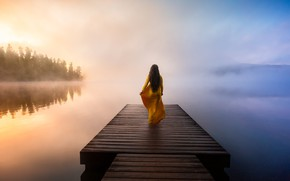 Picture girl, fog, lake, dawn, back, dress, pierce
