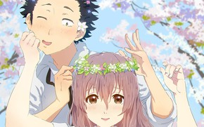 Picture girl, spring, guy, two, wreath, uvety, You no Katachi, Form voice