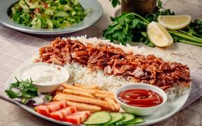 Picture lemon, rice, tomato, kebab, turkish cuisine
