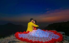 Picture girl, night, feelings, kiss, pair, guy, lovers, Richhiya Vijay