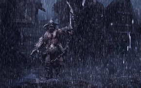 Picture Water, Drops, Night, Rain, Warrior, Warrior, Rain, The shower, Characters, Berserker, Dongbiao Lu, Medieval-Berserker, by …