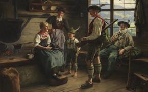 Picture 1919, German painter, German painter, Emil Rau, Emil Rau, Locking of the hunter on the …