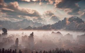 Picture landscape, mountains, fog, Horizon Zero Dawn