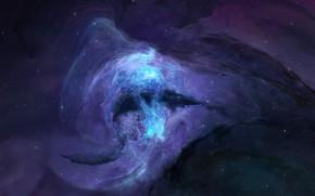 Picture space, stars, space, space, stars, unknown, unknown, fantastic art, фантастический арт, blue glow, голубое сияние