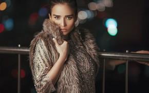 Picture look, girl, dress, brunette, handrail, bokeh, vest, Pagani Ali