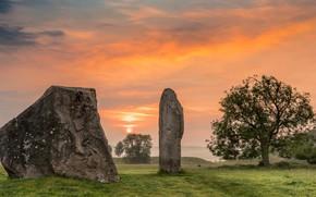 Picture clouds, sunset, England, glow, Wiltshire, Sandstone, stones Sarsen