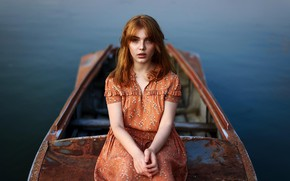 Picture eyes, look, water, boat, hair, Girl, dress, red, Juliana Naidenova