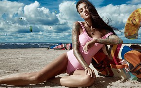Picture sand, sea, beach, swimsuit, the sky, girl, pose, model, tattoo, Anya Sugar, Eugene Angels, Angelov