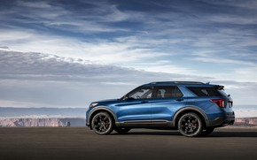 Picture blue, Ford, side view, SUV, Explorer, 2020, Explorer ST
